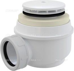 AlcaPLAST A47B Ø50 zuhanytálca szifon fehér sapkával, túlfolyó nélküli zuhanytálcákhoz, 8594045935332