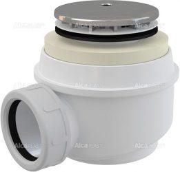 AlcaPLAST A47CR/ A47CR-50, Ø50 zuhanytálca szifon króm sapkával, csatlakozóval, túlfolyó nélküli zuhanytálcákhoz, 8594045934014