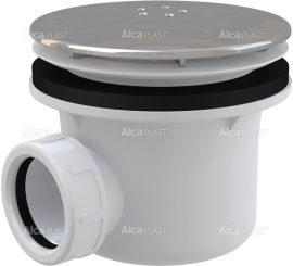AlcaPLAST A49K Zuhany szifon LUX fém, Ø90 mm-es leeresztő nyílással, túlfolyó nélküli zuhanytálcákhoz, 8594045930634