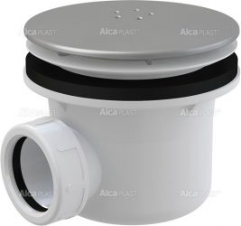 AlcaPLAST A49K matt Zuhany szifon LUX fém, Ø90 mm-es leeresztő nyílással, túlfolyó nélküli zuhanytálcákhoz, 8594045930450