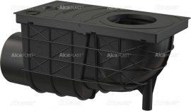 AlcaPLAST AGV3 Univerzális csapadék / esővíz elvezető / szennyvíz felfogó vízelvezető, 300 × 155/110, oldalsó kivezetéssel, fekete színű, , 8595580501297