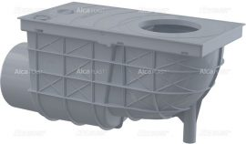 AlcaPLAST AGV3S Univerzális csapadék / esővíz elvezető / szennyvíz felfogó vízelvezető, 300 × 155/110, oldalsó kivezetéssel, szürke színű, 8595580524036