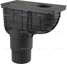 AlcaPLAST AGV4 Univerzális csapadék / esővíz elvezető / szennyvíz felfogó, 300 × 155/125/110, közvetlen, függőleges elvezetéssel, fekete színű, 8595580519285