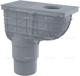 AlcaPLAST AGV4S Univerzális csapadék / esővíz elvezető / szennyvíz felfogó, 300 × 155/125/110, közvetlen, függőleges elvezetéssel, szürke színű, 8595580519292