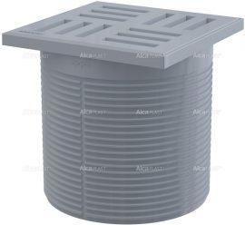 AlcaPLAST APV0100 A leeresztő csatlakozóaljzata, rács 105 × 105 szürke, 8595580507329