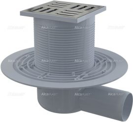 AlcaPLAST APV101 oldalsó kifolyású padlólefolyó réz-króm tetővel, 105×105/50 mm, vízszintes rozsdamentes ráccsal,vizes bűzzárral, 8594045930368