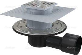 AlcaPLAST APV3344 oldalsó kifolyású rozsdamentes padlólefolyó / padlóösszefolyó, 105x105/50/75 mm-es, 8595580518516