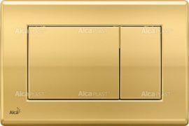 AlcaPLAST M275 Kétöblítéses fehér nyomólap falba építhető tartályhoz, arany, 8595580501662