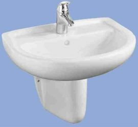 ALFÖLDI BÁZIS / 4191 02 01 / 60 x 49 cm-es fali mosdó 1 furattal középen, lehetőség 3 részes csapszerelvény elhelyezésére, túlfolyó nélkül !!! / 41910201