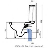 ALFÖLDI LINER / 8767 00 00 / átalakító könyök hátsó kiömlésű monoblokk wc csészéhehez / alsó elvezetéshez / 87670000