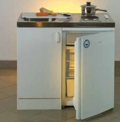 Ecorgan minikonyha hűtővel / hűtőszekrénnyel 100x60 cm, mosogató + főzőlap + hűtőszekrény / 105112K