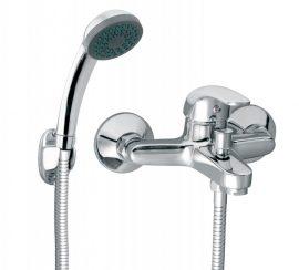 FERRO Vasto egykaros króm kerámiabetétes fali kádtöltő csaptelep zuhanyszettel / BVA11
