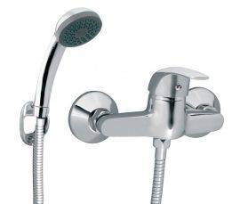 FERRO Vasto egykaros króm kerámiabetétes fali zuhany csaptelep zuhanyszettel / BVA77