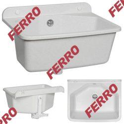 FERRO Falikút / fali kiöntő, fehér színű, mély kivitel, fali és álló csapteleppel is szerelhető, komplett, szifonnal, DRK37/46W