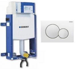 Geberit Kombifix WC szerelőelem fali WC részére Sigma 12cm-es öblítőtartállyal, ECO, Sigma01 nyomólappal / fehér / 110.319.11.5 / 110319115