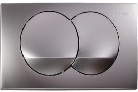 GEBERIT Delta 20 nyomólap 2 vízmennyiségű matt króm / selyemfényű króm UP100 BASIC beépíthető wc tartályhoz, 115.100.46.1 / 115100461