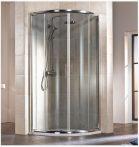 HSK IMPERIAL Negyedköríves / íves tolóajtós sarok zuhanykabin, 80 x 185 cm-es, alumínium matt kerettel, 6 mm-es, átlátszó, biztonsági edzett üveggel, 155080550
