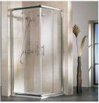 HSK IMPERIAL Szögletes tolóajtós sarok / sarokbelépő zuhanykabin, 90 x 185 cm-es, alumínium matt kerettel, 6 mm-es, átlátszó, biztonsági edzett üveggel, 159090
