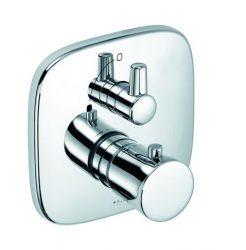 KLUDI AMBA falsík alatti termosztátos zuhanycsap, falon kívüli készlet szabályzóegységgel, előlappal, kerámia zárószeleppel, 38˚C−ra beállított retesszel, króm 538350575 / 5383505-75 / 53835-05-75