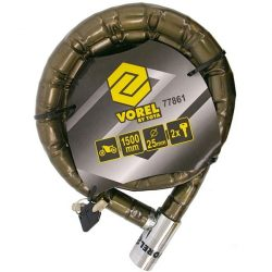 N2 motorkerékpár zár, 1500mm, átm 25mm, 2 kulccsal, múanyag bevonat / 77861 (MB)