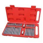 """EXTOL PREMIUM BIT klt. 40 db HEX-TORX-XZN, 10mm, CrV, műanyag dobozban hatlap(H4-H12), XZN(Spline, 5-12) és TORX (T20-T55), adapter 3/8"""" és 1/2"""", hosszúság: 30mm + 70mm  / 8818202 (MB)"""
