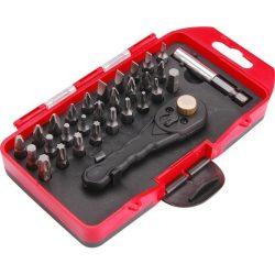 """EXTOL PREMIUM BIT klt., 30 db-os, 1/4"""" racsnis hajtókar, CrV 6150 BIT-ek: lapos:3-7mm, PH1-3, PZ1-3, Torx: T8-T40, HEX:2,5-6mm, műa.ta / 8819190 / (MB)"""