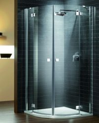 RADAWAY Almatea PDD E 90x80 negyedköríves / íves / szimmetrikus zuhanykabin 900x800x1950 mm / 01 grafit üveg / 30532-01-05N