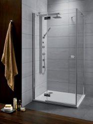 RADAWAY Almatea KDJ 100 B* × 100** zuhanykabin 1000x1000x1950 mm / bal, balos / 08 barna üveg / 32150-01-08NL