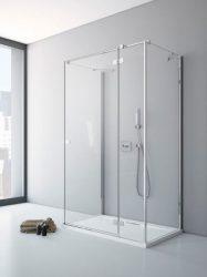 RADAWAY Fuenta New KDJ+S 90 J jobb / jobbos szögletes zuhanykabin AJTÓ 900x2000 mm / 01 átlátszó üveg / 384020-01-01R + Króm küszöb