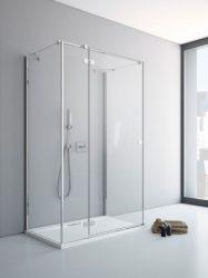 RADAWAY Fuenta New KDJ+S 100 B bal / balos szögletes zuhanykabin AJTÓ 1000x2000 mm / 01 átlátszó üveg / 384022-01-01L + Króm küszöb