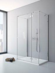 RADAWAY Fuenta New KDJ+S 100 J jobb / jobbos szögletes zuhanykabin AJTÓ 1000x2000 mm / 01 átlátszó üveg / 384022-01-01R + Króm küszöb