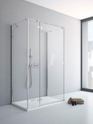 RADAWAY Fuenta New KDJ+S 110 B bal / balos szögletes zuhanykabin AJTÓ 1100x2000 mm / 01 átlátszó üveg / 384023-01-01L + Króm küszöb