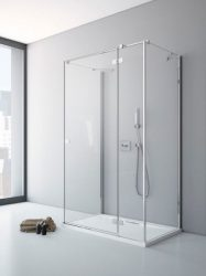 RADAWAY Fuenta New KDJ+S 120 J jobb / jobbos szögletes zuhanykabin AJTÓ 1200x2000 mm / 01 átlátszó üveg / 384024-01-01R + Króm küszöb