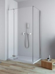 RADAWAY Fuenta New KDJ 80 B bal / balos szögletes zuhanykabin AJTÓ 800x2000 mm / 01 átlátszó üveg / 384043-01-01L + Króm küszöb