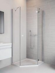 RADAWAY Essenza New PTJ 90 B szögletes / ÖTSZÖGLETŰ zuhanykabin nyíló AJTÓ 900x900x2000 bal / balos / 01 átlátszó üveg / 385010-01-01L