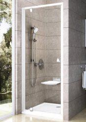 RAVAK Pivot PDOP1-90 egyrészes kifelé nyíló zuhanyajtó, fehér kerettel, fehér foganytúval, Transparent edzett biztonsági üveggel, 90 cm, 03G70101Z1