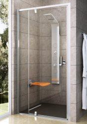 RAVAK Pivot PDOP2-110 kétrészes kifelé nyíló zuhanyajtó, fehér kerettel, fehér foganytúval, Transparent edzett biztonsági üveggel, 110 cm, 03GD0101Z1