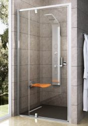 RAVAK Pivot PDOP2-120 kétrészes kifelé nyíló zuhanyajtó,  szatén kerettel, Transparent edzett biztonsági üveggel, 120 cm, 03GG0U00Z1