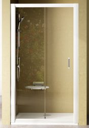 RAVAK Rapier NRDP2-100 Toló rendszerű kétrészes, jobbos zuhanyajtó szatén kerettel / TRANSPARENT edzett biztonsági üveggel / 100 cm / 0NNA0U0PZ1