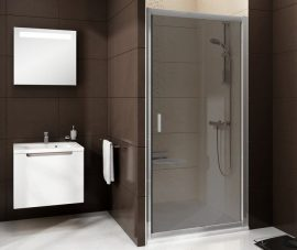 RAVAK Blix zuhanyajtó, BLDP2-100 fehér kerettel, Grafit edzett biztonsági üveggel (K), 0PVA0100ZH