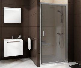 RAVAK Blix  zuhanyajtó BLDP2-100, fényes alumínium / krómhatású kerettel, Grafit edzett biztonsági üveggel, 0PVA0C00ZH