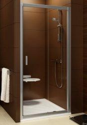 RAVAK Blix zuhanyajtó BLDP2-110 kétrészes, toló rendszerű, krómhatású / fényes alumínium kerettel, Transparent edzett biztonsági üveggel, 110 cm, 0PVD0C00Z1