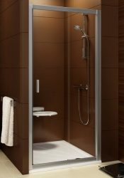 RAVAK Blix zuhanyajtó BLDP2-120 kétrészes, toló rendszerű, szatén kerettel / GRAPE edzett biztonsági üveggel, 120 cm / 0PVG0U00ZG
