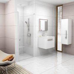 RAVAK Chrome CSD1-90 Egyrészes zuhanyajtó fehér kerettel, Transparent edzett biztonsági üveggel, 90 cm, 0QV70100Z1