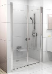 RAVAK Chrome CSDL2-100 Kétrészes zuhanyajtók, fehér kerettel, transparent edzett biztonsági üveggel, 100 cm, 0QVAC10LZ1