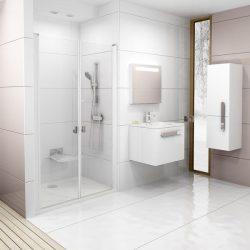 RAVAK Chrome CSDL2-110 Kétrészes zuhanyajtók fehér kerettel, transparent edzett biztonsági üveggel, 110 cm, 0QVDC10LZ1