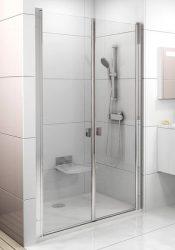 RAVAK Chrome CSDL2-120 Kétrészes zuhanyajtók szatén kerettel, transparent edzett biztonsági üveggel, 120 cm, 0QVGCU0LZ1