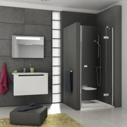 RAVAK SmartLine SMSD2-120 A Kételemes jobbos zuhanyajtó króm zsanérral, transparent edzett biztonsági üveggel 120 cm, 0SPGAA00Z1