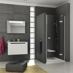 RAVAK SmartLine SMSD2-120 B Kételemes jobbos zuhanyajtó króm zsanérral, transparent edzett biztonsági üveggel 120 cm, 0SPGBA00Z1