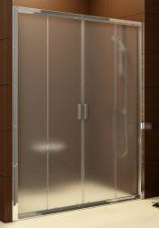 RAVAK Blix zuhanyajtó BLDP4-120 négyrészes toló rendszerű, fényes alumínium / krómhatású kerettel Grape edzett biztonsági üveggel, 120 cm, 0YVG0C00ZG